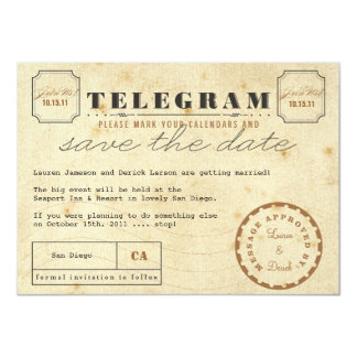 Vintage Telegram Postcard Save the Date 11 Cm X 16 Cm Invitation Card