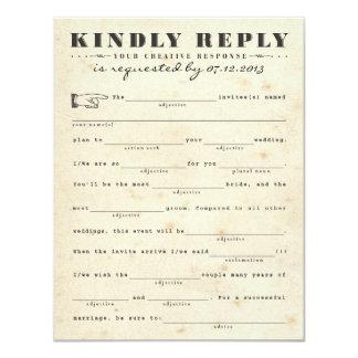 Vintage Telegram Response Card 11 Cm X 14 Cm Invitation Card