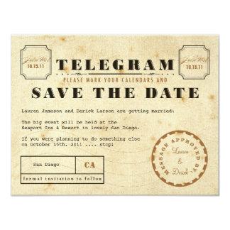 Vintage Telegram Save the Date 11 Cm X 14 Cm Invitation Card
