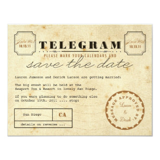 Vintage Telegram Save the Date 11 Cm X 14 Cm Invitation Card