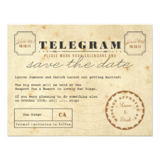 Vintage Telegram Save the Date Announcements