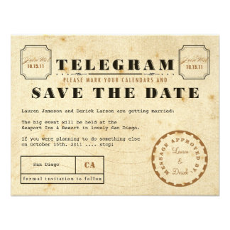 Vintage Telegram Save the Date Custom Announcement