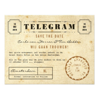 Vintage Telegram Save the Date Invites