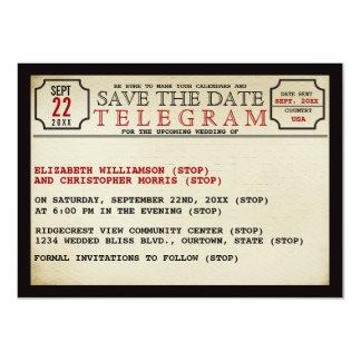 Vintage Telegram Style Save The Date 11 Cm X 16 Cm Invitation Card