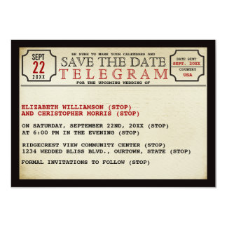 Vintage Telegram Style Save The Date Card