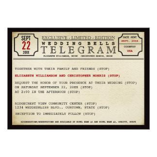 Vintage Telegram Style Wedding Custom Invitations