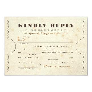 Vintage Telegram Ticket Libs Response Card 9 Cm X 13 Cm Invitation Card