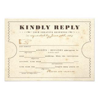 Vintage Telegram Ticket Mad Libs Response Card