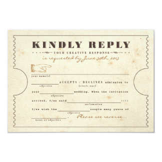 Vintage Telegram Ticket Mad Libs Response Card Personalized Invitations
