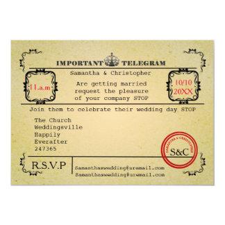 Vintage telegram wedding 13 cm x 18 cm invitation card