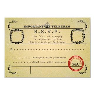 Vintage telegram wedding  R.S.V.P 9 Cm X 13 Cm Invitation Card