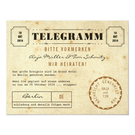 Vintage Telegramm Save the Date Card