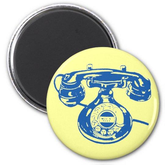 Vintage Telephone 6 Cm Round Magnet