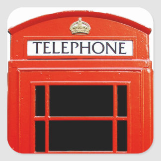 Vintage Telephone Booth Square Stickers