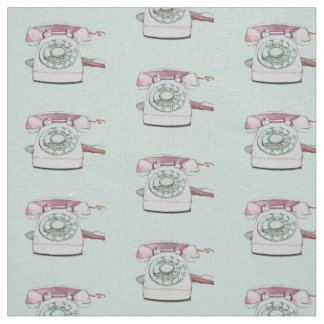 Vintage Telephone Pattern Repeat - Seafoam Fabric