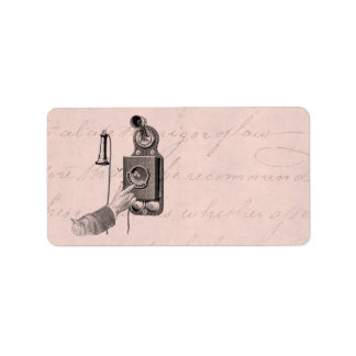 Vintage Telephones Illustration Phone Retro Phones Address Label