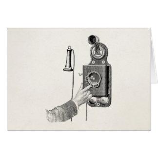 Vintage Telephones Illustration Phone Retro Phones Note Card