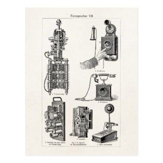 Vintage Telephones Illustration Phone Retro Phones Postcard