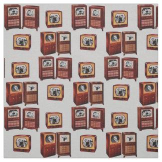 vintage television sets novelty print fabric