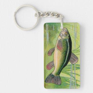 Vintage Tench Fish Print Double-Sided Rectangular Acrylic Key Ring