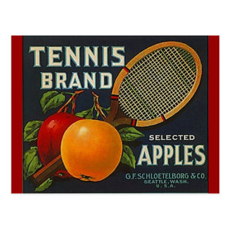 Vintage Tennis Brand Apples Racket Crate Postcards