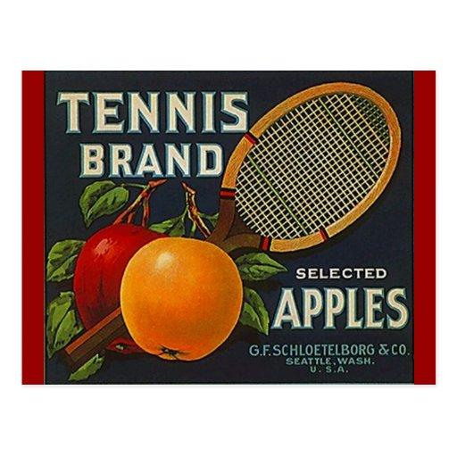 Vintage Tennis Brand Apples Racket Crate Postcards