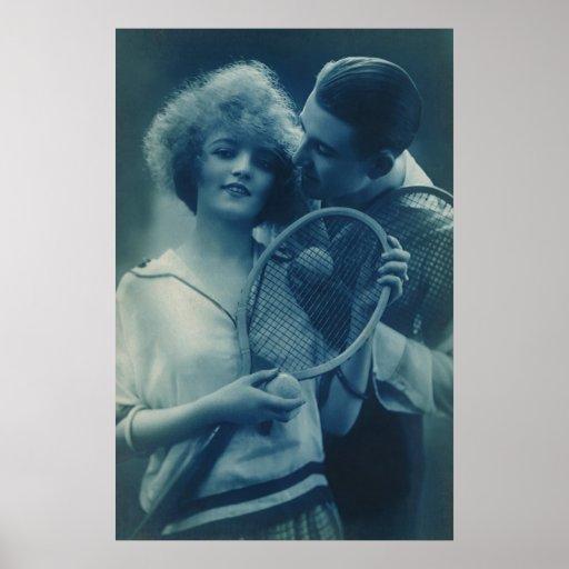 Vintage Tennis Love; Blue Tones Print
