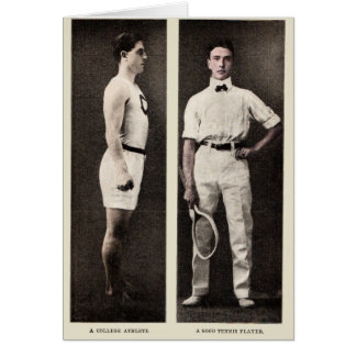 Vintage Tennis Player College Athlete Greeting Card