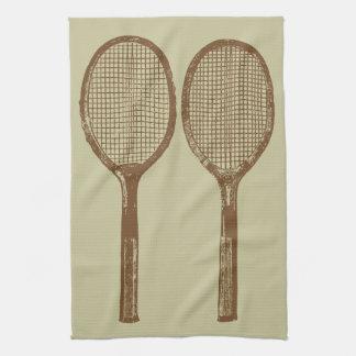 Vintage tennis rackets tea towel