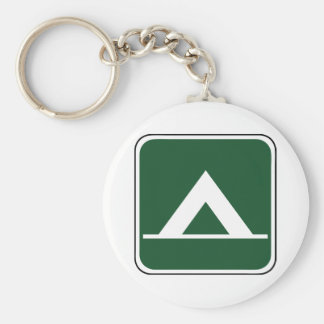 Vintage Tent Camp Sign Basic Round Button Key Ring