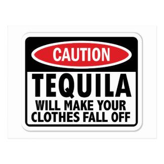 Vintage Tequila caution sign Postcard