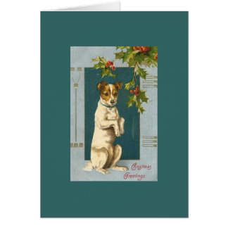 Vintage Terrier and Holly Card
