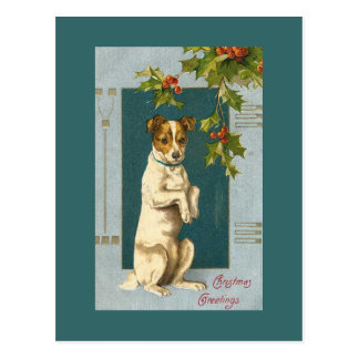 Vintage Terrier and Holly Postcard