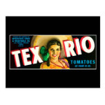 Vintage Tex Rio Tomatoes Label Post Card