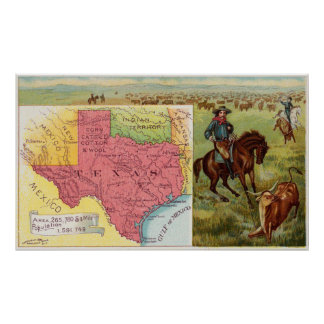 Vintage Texas Map with Illustrations (1890) Poster