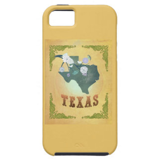Vintage Texas State Map- Passion Fruit Yellow iPhone 5 Covers