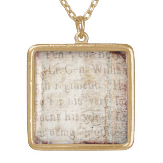 Vintage Text 1700 Background Paper Template Blank Square Pendant Necklace
