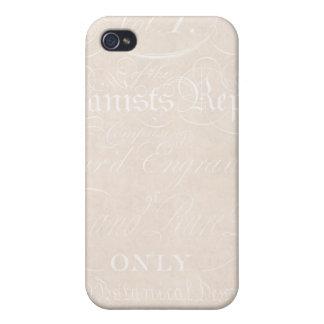Vintage Text Botanist Parchment Paper Template iPhone 4/4S Covers
