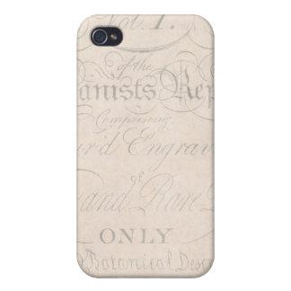 Vintage Text Botanist Parchment Paper Template iPhone 4 Case
