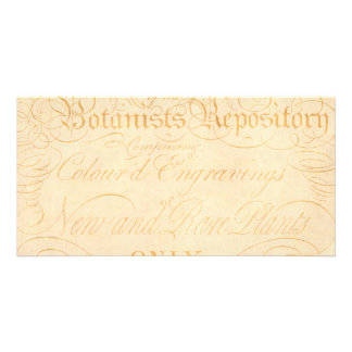 Vintage Text Botanist Parchment Paper Template Personalised Photo Card