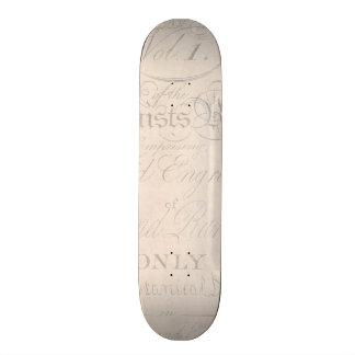 Vintage Text Botanist Parchment Paper Template Skate Board Decks