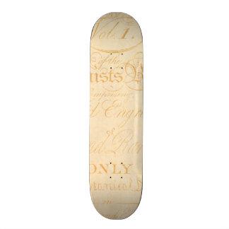 Vintage Text Botanist Parchment Paper Template Custom Skate Board