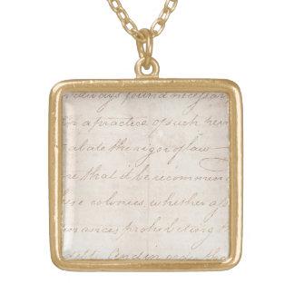 Vintage Text Colonial Script Parchment Paper Gold Plated Necklace