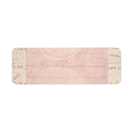 Vintage Text Colonial Script Parchment Paper Return Address Label