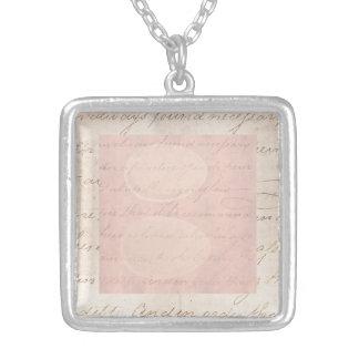 Vintage Text Colonial Script Parchment Paper Silver Plated Necklace