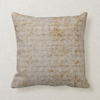 Vintage Text French Background Paper Template Throw Pillow
