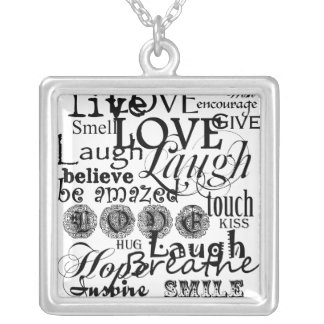 Vintage Text Life Advice Apparel and Gifts Silver Plated Necklace
