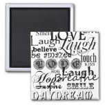 Vintage Text Life Advice Apparel and Gifts Square Magnet