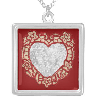 Vintage Textile Heart Personalized Photo Necklace