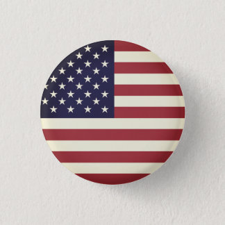 Vintage Texture American Flag Red and Blue 3 Cm Round Badge